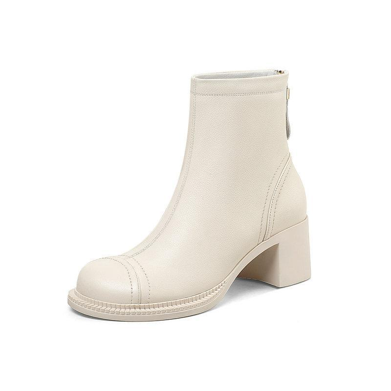 botas de mujer de cuero genuino botas del tobillo para las mujeres zapatos de tacón alto gruesos cremallera de la manera Winter Party