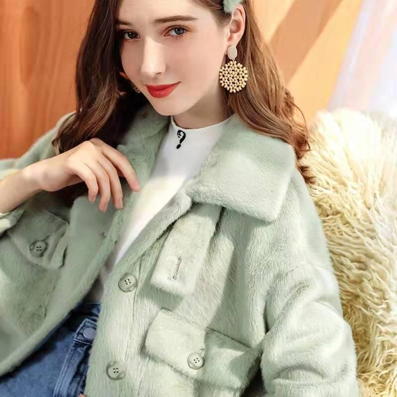 Hot Sale women winter cashmere coat luxury designer womens fur wool jacket thick woolen blend coats office lady fashion beige jackets