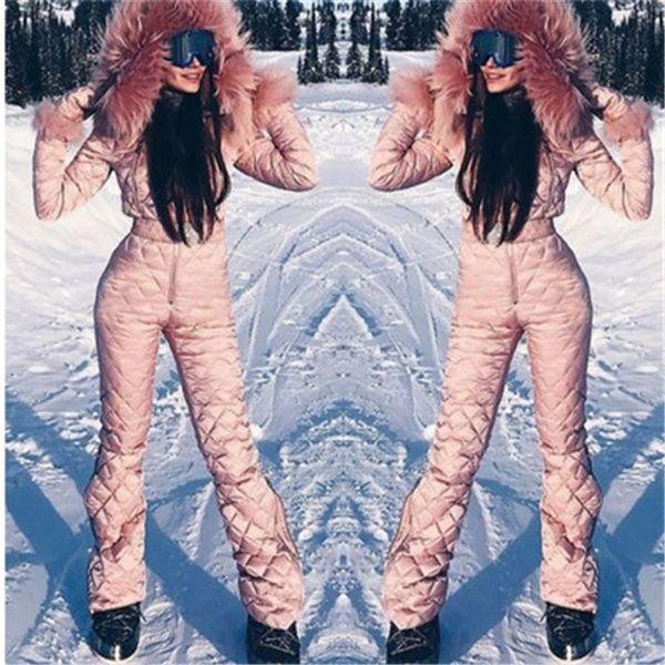 2020 Ski Set Jumpsuit Com capuz Mulheres Mobinas Ao Ar Livre Esportes Casaco Snowboard Jaqueta de One-Peça de Esqui Hot Warm Waterproof Winter Roupas