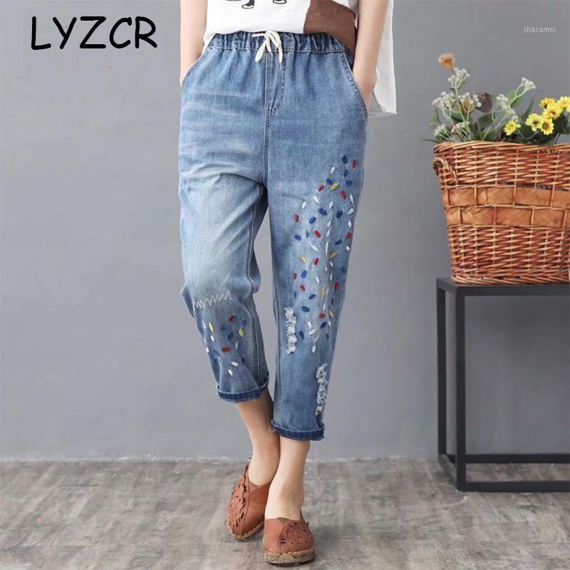 Hohe taillierte Stickerei Harem Jeans Beunruhigte Frauen Lose Plus Size Womens Jeans mit Stickerei Elastische Taille Denim Pants1