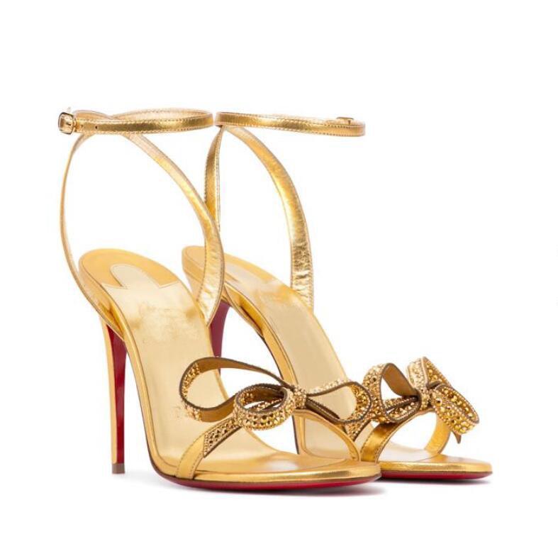 Nuovo arrivo Signore Summer Seatrici da sera Sandalo Sandal Sandal Sandal Butterfly Decoration Decorazione Strass Heel Adornato caviglia in pelle 35-43