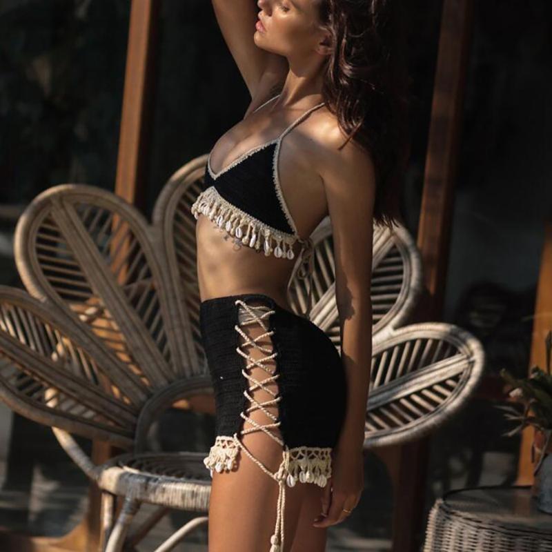 Traje de baño de mujer Juego de concha de moda 3 pieza Bikini Mujer con flecos Crochet Top Sexy vestido de playa Lace Mini falda y collar