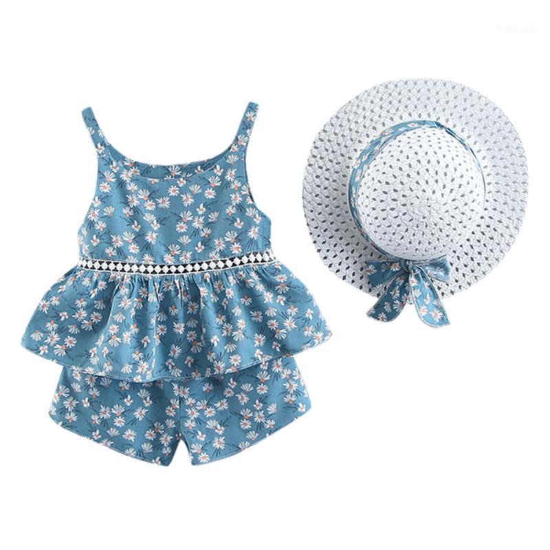Toddler Toddler Baby Girls Tops Floral Fruit Strap Tops Shorts Tenue Chapeau Casual Ensemble de jolies vêtements Ensembles d'été 3251