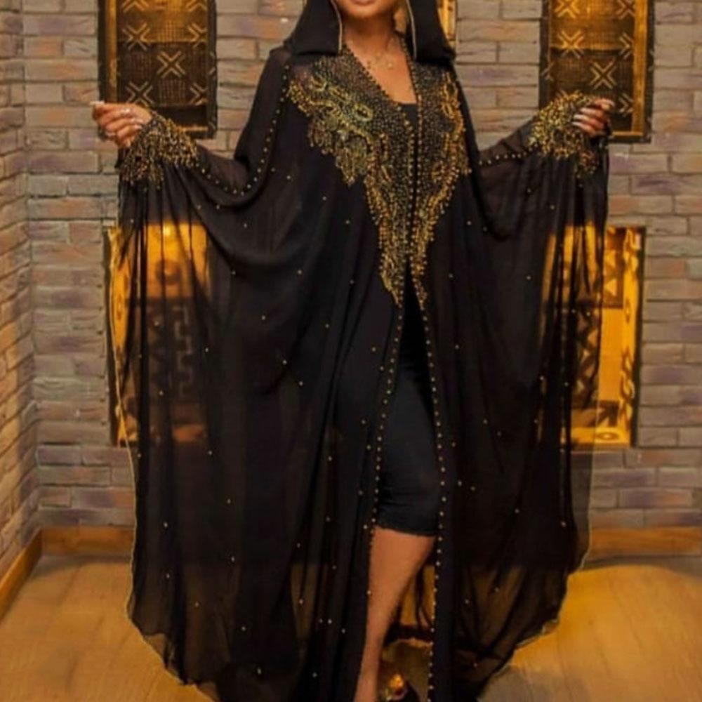 2021 Дизайнер бисеров Дубай длинная роскошь с капюшоном Женский халат Мусульманский кардиган бирюзовый платье большого размера E25V