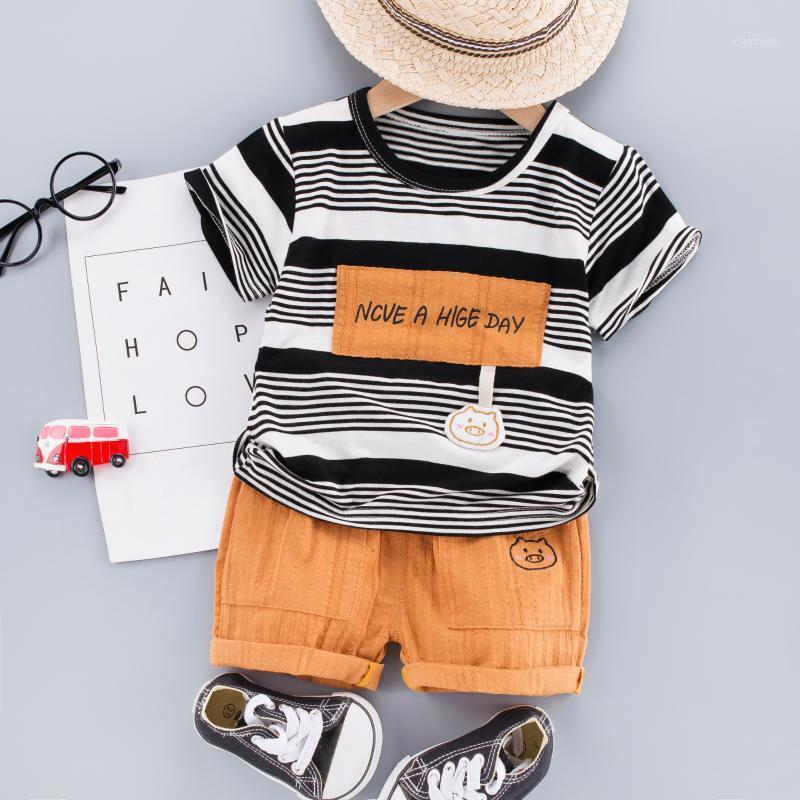 2020 Nova Criança Do Verão Bebé Bebê Set T-shirt listrado + shorts algodão crianças roupas de manga curta 1 2 3 4 anos1