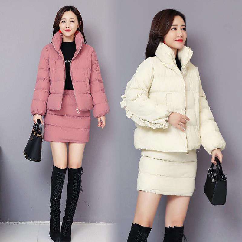 Kadın Eşofman Parkas Pamuk Giysileri + Sıcak Kısa Etek 2-piece Suit Kadınlar Sonbahar Ve Kış Siyah Kırmızı Beyaz Zarif Moda Yastıklı Jack