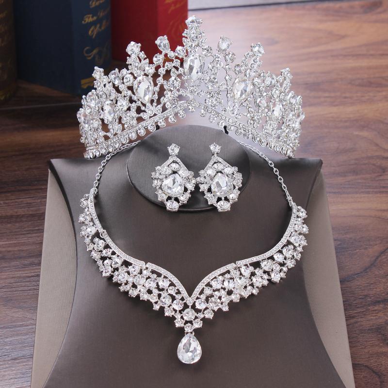 Baroque Crystal Water Drop Bridal Jewelry Sets Rhinestone Tiaras Crown Necklace Earrings Bride Wedding Dubai Jewelry Set