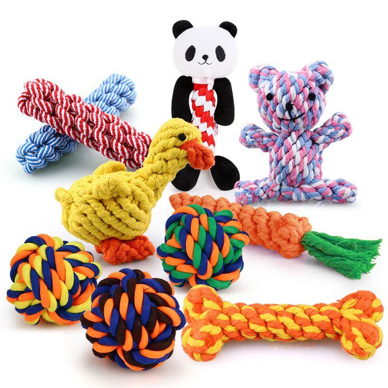 Desenhos mistos mordida resistente cão animal de estimação mastigar brinquedos para cães pequenos limpeza dentes cachorrinho cão corda corda nó bola brinquedo jogando animais cães brinquedos brinquedos