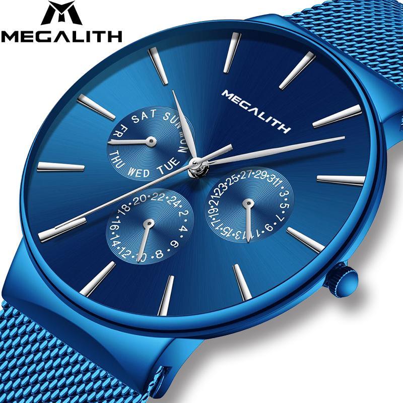 MEGALITH Mens Watches Top Brand Luxury Waterproof Wrist Watch Ultra Thin Date Quartz Watch For Men Sports Clock Erkek Kol Saati T200113