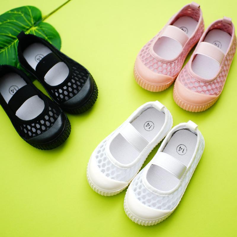 Marque Enfants d'été creux Big Mesh Sandales Kindergarten Garçons Blanc Simple Chaussures Filles Filles doux Sandales Bas 1-8 Années