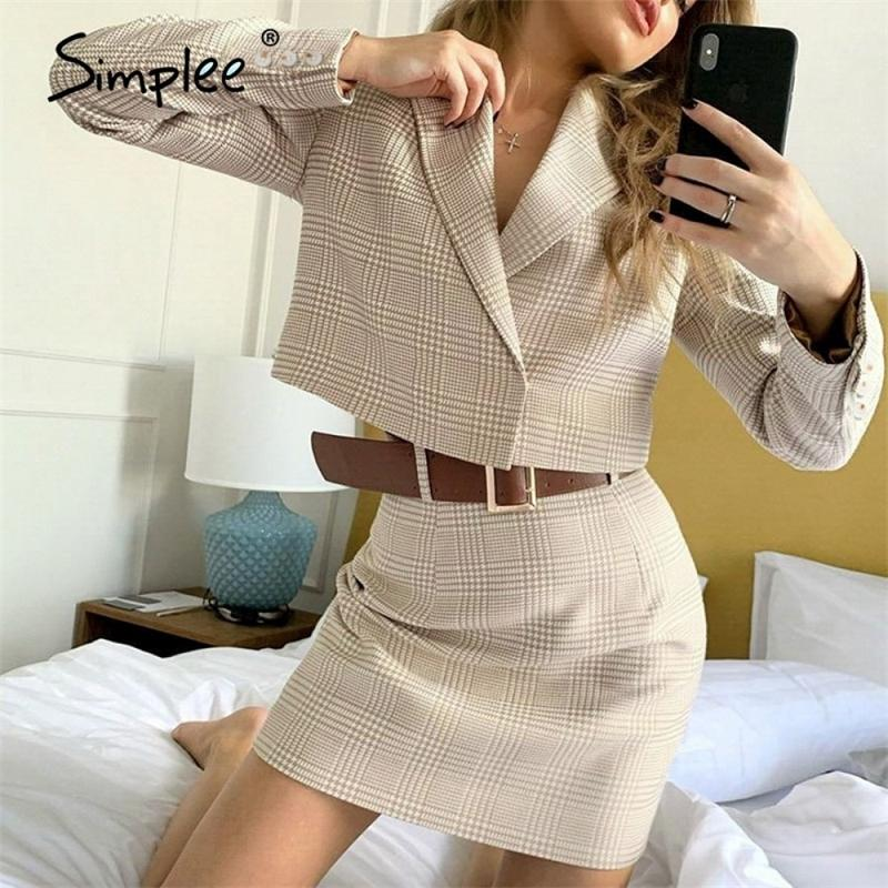 Simplee Two-piece casual plaid women dress Elegant long sleeve button skirt suits A-line notched office lady autumnn suits 201130