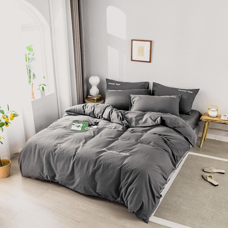 Сплошной цвет постельного белья Установите чистый хлопок A / B двухсторонний шаблон простота простых простыней, одеяла наволочка 4-7 шт. T200326