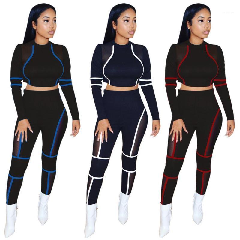 Femmes Deux Morceaux Ensemble Top de culture O-Cou + Pantalon long Couleur Patchwork Sportwear Tissu d'automne pour femmes1