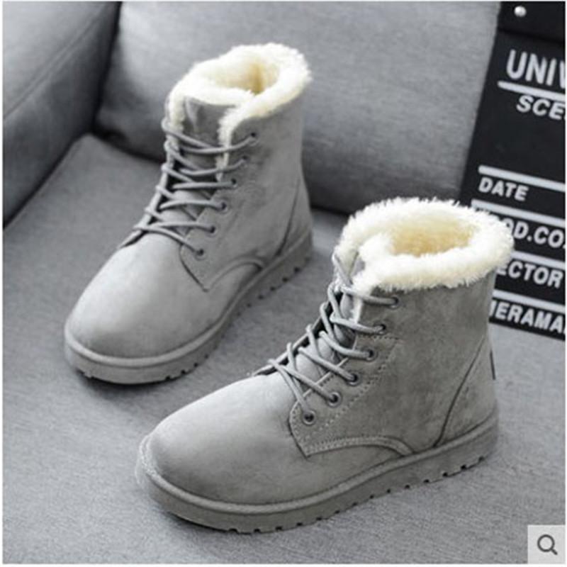 Kurze stiefel spitze baumwolle schuhe frauen flache schnee boots warme frauen