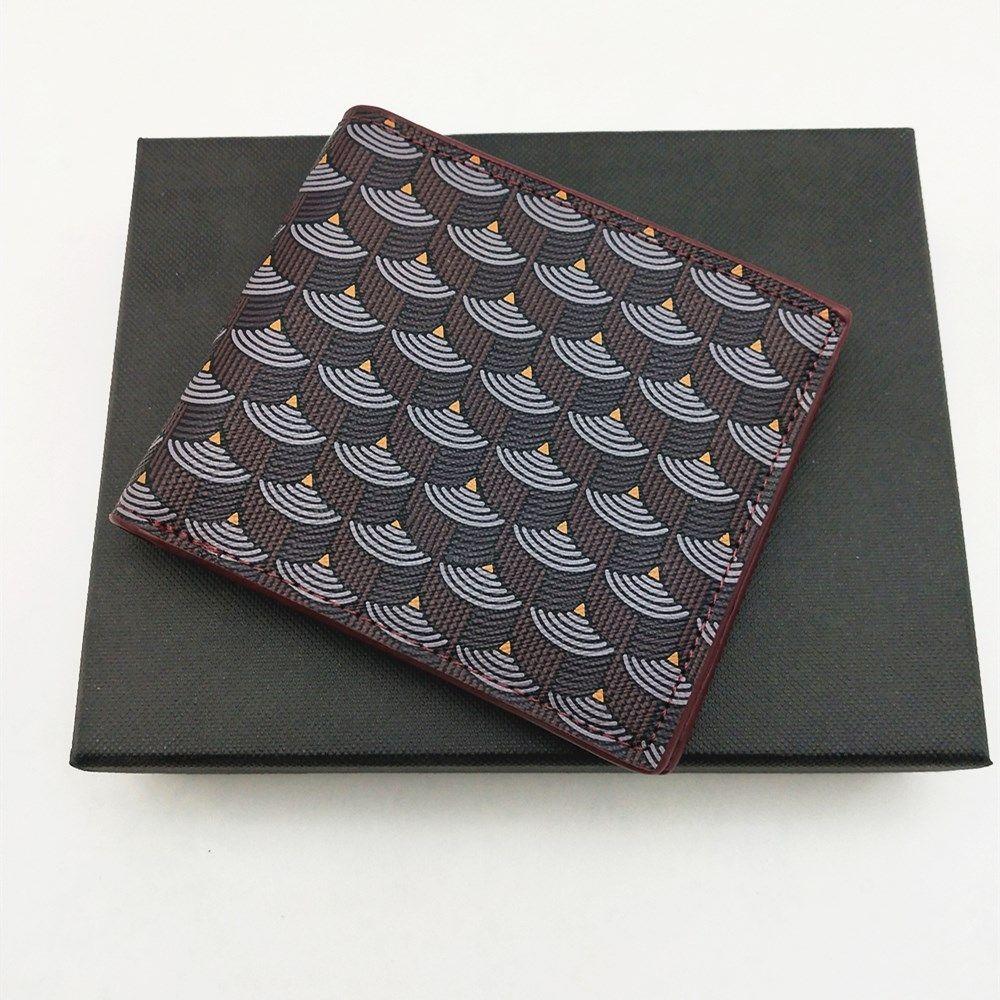 Moda para hombre cortos carteras de cuero genuino clásico hombres de pescado patrón de pez billetera con ranura de tarjeta bifollet billetera pequeña carteras con caja