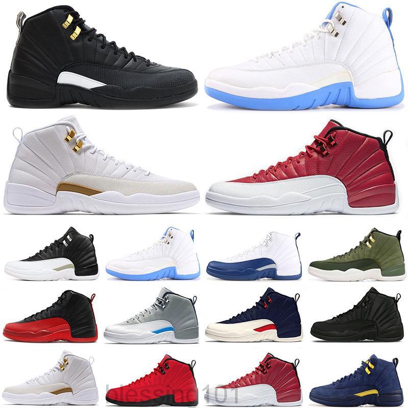 상자 12s 12s 최고 품질의 농구 신발 jumpman womens mens 운동화 돌 블루 대학 골드 난옥 트레이너 크기 13 BT11