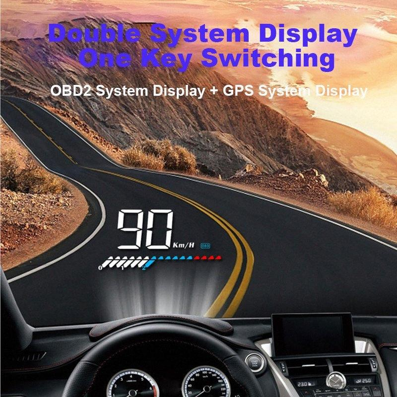 Car HUD Head Up Display GPS Mode Display OBD Overspeed Warning System Projector Windshield Auto Electronic Voltage Alarm Sf8A#