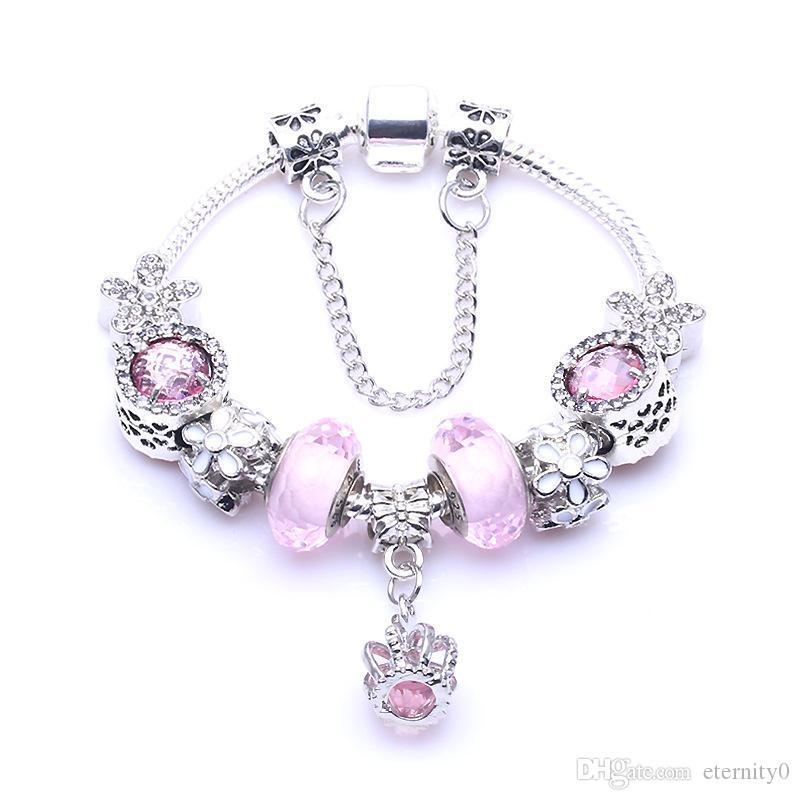 DIY розовый шарм шарман 3 мм змея кости браслет подходит для пиндора в стиле Pandora Crown Coundant женский браслет украшения