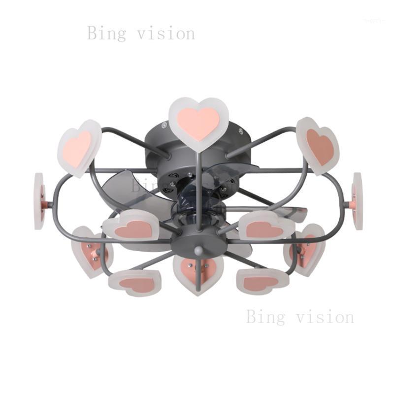 2020 Yeni Nordic Modern Geometrik Tasarım Tavan Fanı Işık Pembe Aşk LED Aydınlatma Karartma Yatak Odası Fan Işık AC2201