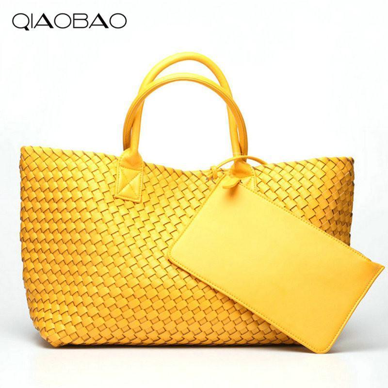 QIAOBAO кошелек мешок подарков Марка качество кожи Женская сумка Сумка Vintage большой емкости ручной работы Ткачество Тотализаторы