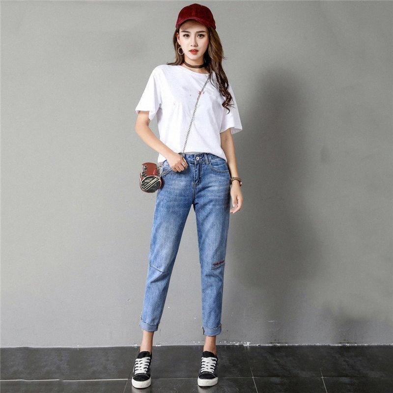 Мама Jeans Light Blue Cargo Pants 2019 Новая весна лето Корейский Сыпучие пят джинсы Высокая талия Straight Женщины JD22 6f8V #