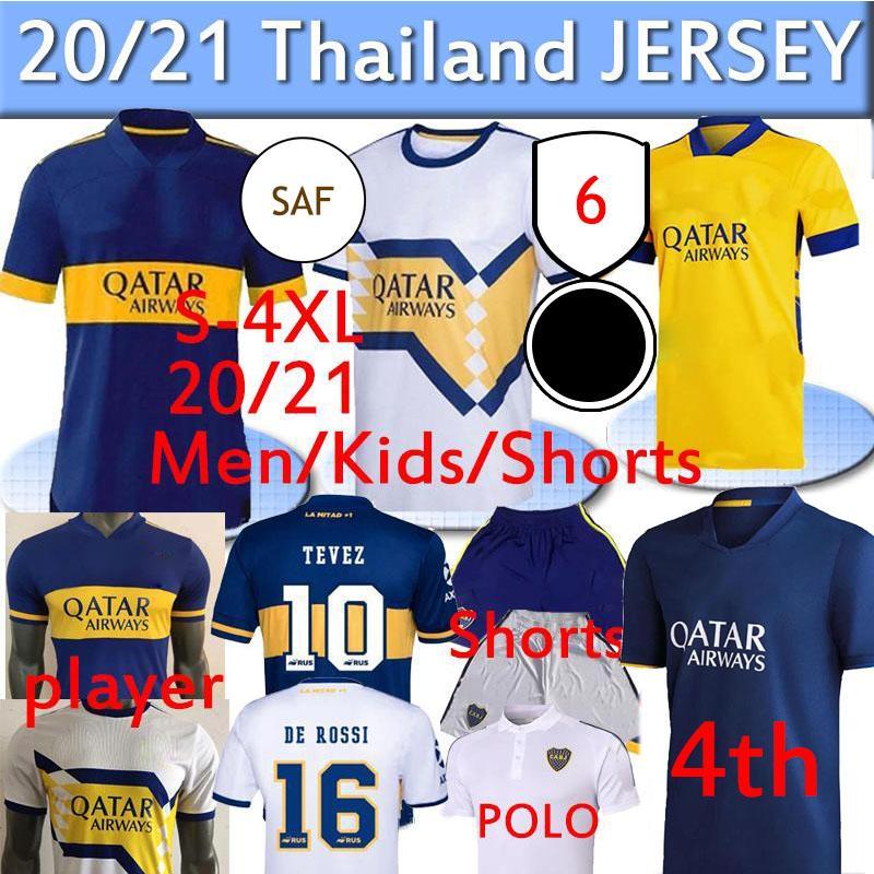 2020 2021 Boca Juniors Soccer Jersey الصفحة الرئيسية Away Gago Osvaldo Carlitos Perez de Rossi Tevez المشجعين اللاعب السراويل القصيرة الثالثة السراويل بولو تايلاند