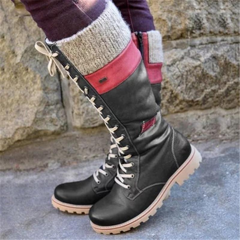2020 Woman Short Botas Hot New Autumn Winter Shoes Women Flat Heel Boots Fashion Knitting Patchwork Women's Boot mujer Wool Boot