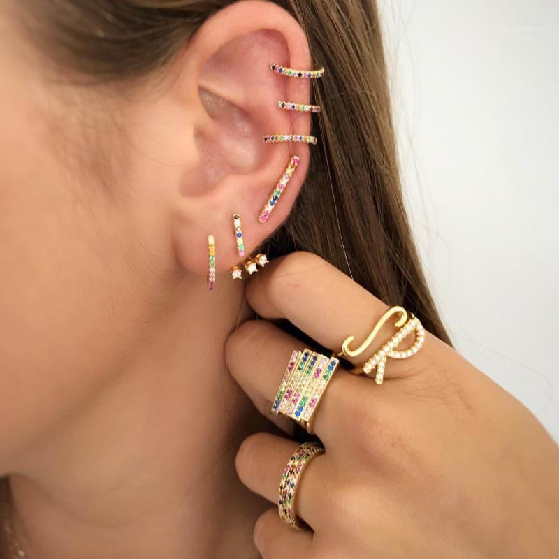 Rainbow mix colored cz Earring gold filled 925 Sterling Silver huggie hoops girls minimal tiny small cute gorgeous Earring1