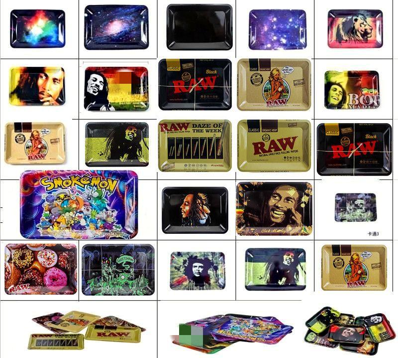 Rolling Tray Bob Marley Tablett 18 * 12,5 * 1,5 cm Metall für Raucherpfosten Papiere Mischen Muster Blatt Freies Shiping
