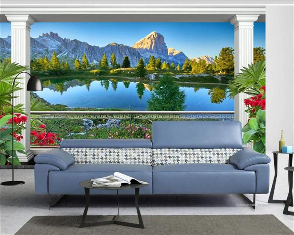 Пользовательские 3d обои Сад Балкон Прекрасный вид на озеро Indoor TV фона украшения стены Mural обои