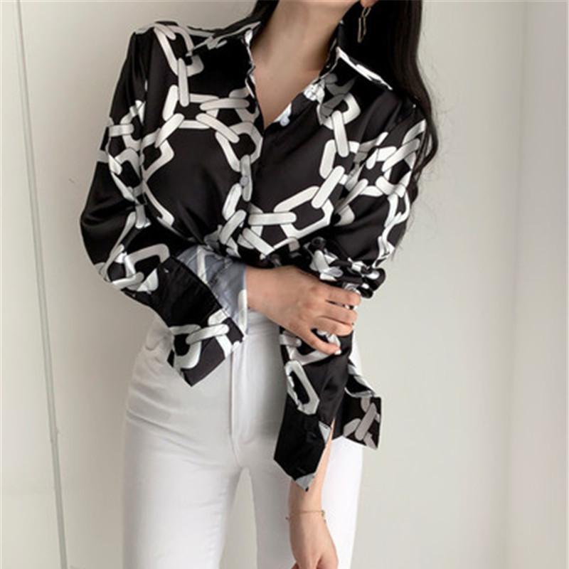Streetwear Cool Chain Print Long Sleeve Blouse Women Fashion Turn-down Collar Single Breasted Black Shirt Harajuku
