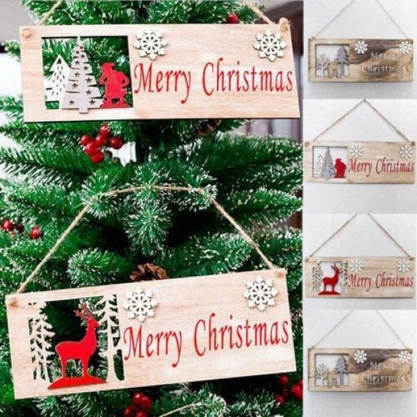 Рождество Красочный деревянный кулон двери украшения Висячие партии декора украшения 1VaE #