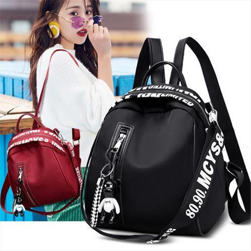 NOENNAME NULL Women Nylon School Backpack Travel Satchel Rucksack Shoulder Bag Tote