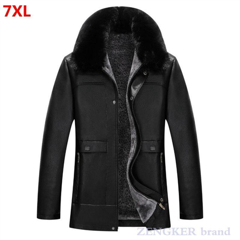 Зима Новый мужской плюс размер PU куртка 7xL 6xL деловая повседневная фланелевая воротник плюшевый шубой пальто человек держите теплую кожаную куртку мужчин