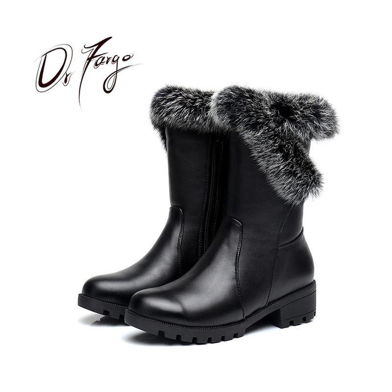 DRFARGO Fur Top Vera Pelle Snow Boots punta rotonda tacco quadrato metà polpaccio cerniera stivali neri Pattini Femme zapato size35-43