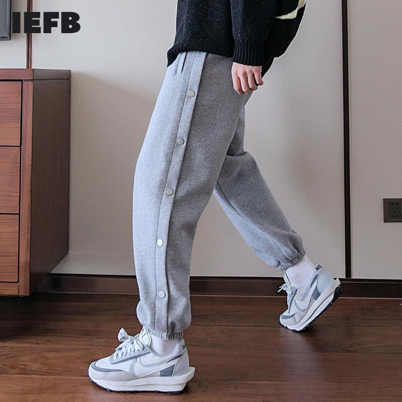 Men's Pants IEFB / Clothing Slit-breasted Casual Loose Autumn Fashion All-match Workwear Leggings Trousers Y4141