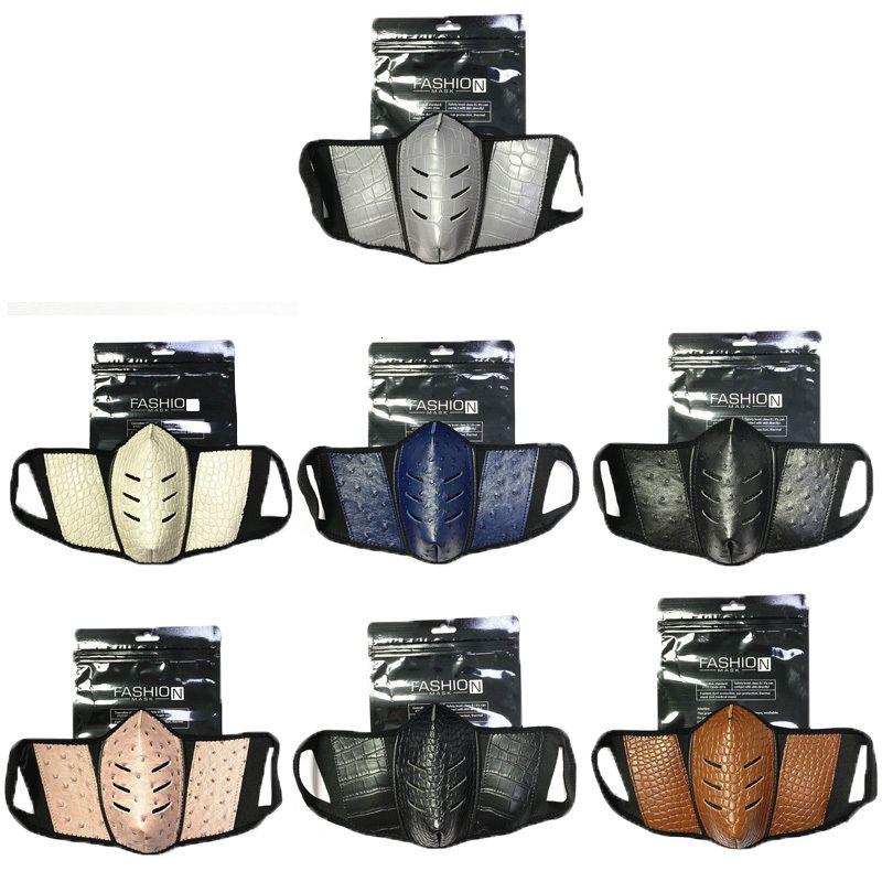 Tasarımcı Parti Maskeleri Deri Moda Ambalaj Anti-Toz Bez Maske Yıkanabilir Kullanımlık Yüz Kapak