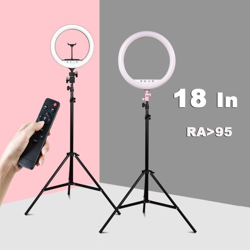 Tripés de 18 polegadas Dimmable LED Selfie Ring Fill Light para Tik Tok Makeup Makeup Video Poglio Poglio Tripé 2M