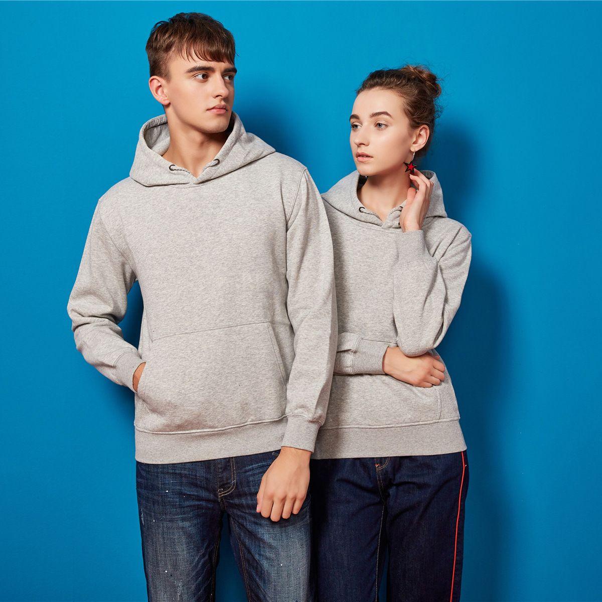 2020 winter new silver fox velvet DIY solid color Pullover Hoodie men's sweater