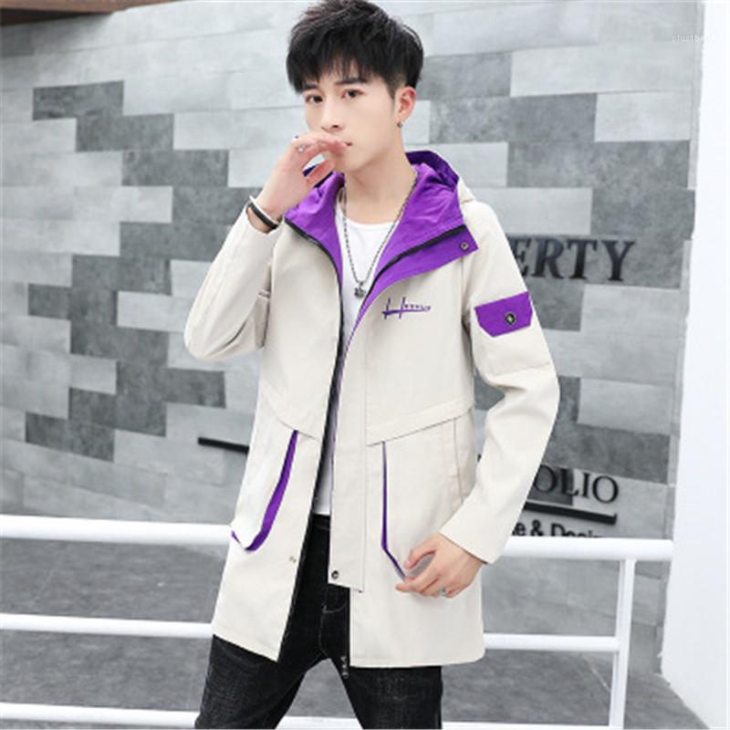 Корейская версия средней длины толстовка на молнии с длинным рукавом пальто вскользь Верхняя одежда Дизайнер Мужской Карман распашонки Man Инструментальное способа куртки
