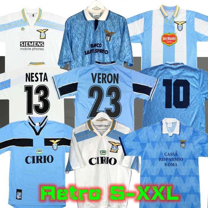 Lazio Retro 1989 1990 1991 1992 1999 2000 2001 لكرة القدم الفانيلة Nedved Simeone Salas Gascoigne Home Third Shirt Veron Crespo Nesta