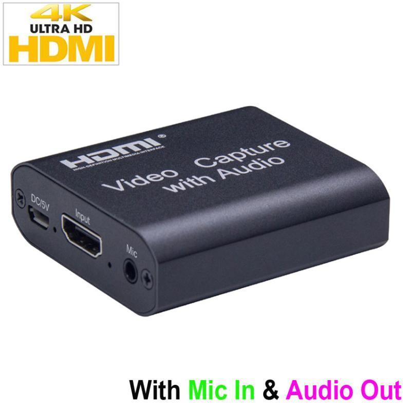 Cartão de captura HD 4K com Audio Out 4K 1080P USB 2.0 MIC. Na caixa de transmissão do jogo de dispositivo de captura de vídeo de áudio