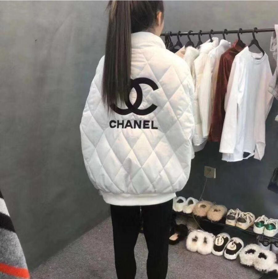 여성 무료 배송 2020 웹 유명 인사 겨울 패션 디자이너 솜 패딩 옷 두꺼운 따뜻한 흑백 편지 면화 코트