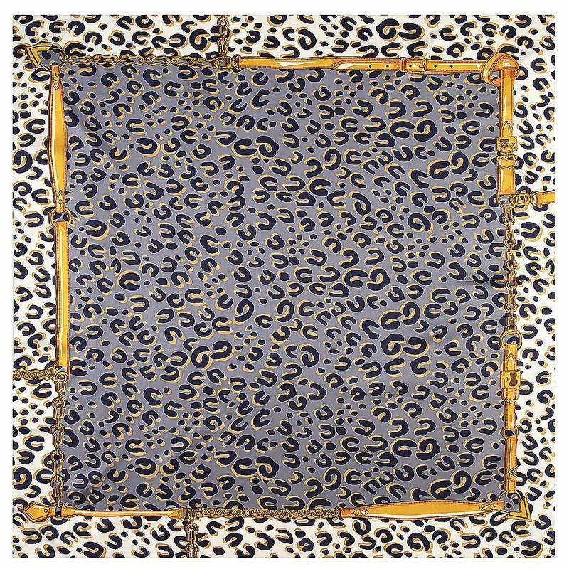 POBING 100% Twill шелковый шарф Женщины леопардовый площади шарфов Большой Бандана Luxury платка хиджаба Женский головной платок Платки Y201007