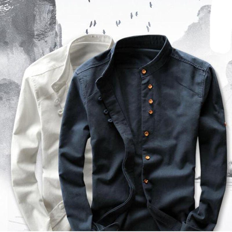 Linge de coton pour homme Homme à manches longues occasionnel Slim Slim Mandarin Chemises Haute Qualité Summer Beach Shirt Plus Taille 6xl