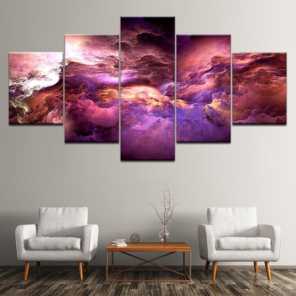 Poster Resim Tuval Wall Art Painting Baskı On Tuval Odası Dekorasyon Boyama 5 Paneli HD Baskılı Renkli Bulutlar