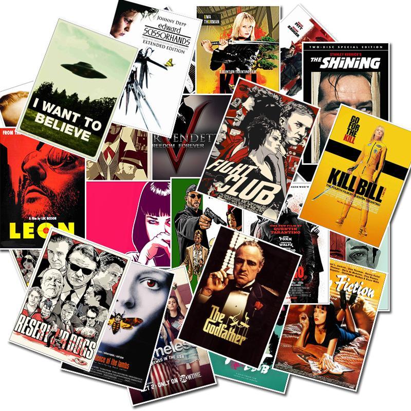 25 unids / lote Pegatinas clásicas de la película para equipaje Laptop Art Painting Mill Bill Pulp Fiction Poster Impermeable Skateboard Motorycle DIY Pegatina Calcomanía