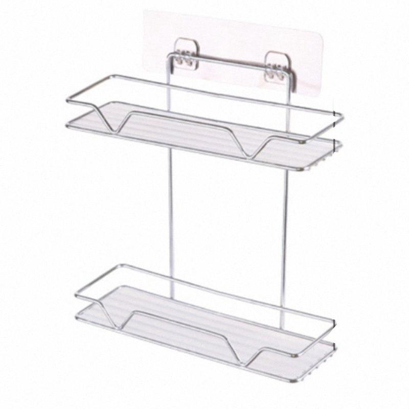 Double Layer Bathroom Organizer Stainless Steel Storage Shelf Kitchen Bathroom Toilet Wall Hanging Cosmetic Multifunction Storag 5Joc#
