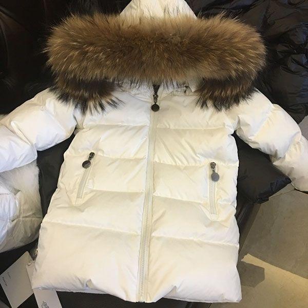 de los niños los niños y niñas por la chaqueta de cuello de piel de mapache natural extraíbles 2-12 años 0930 bebé