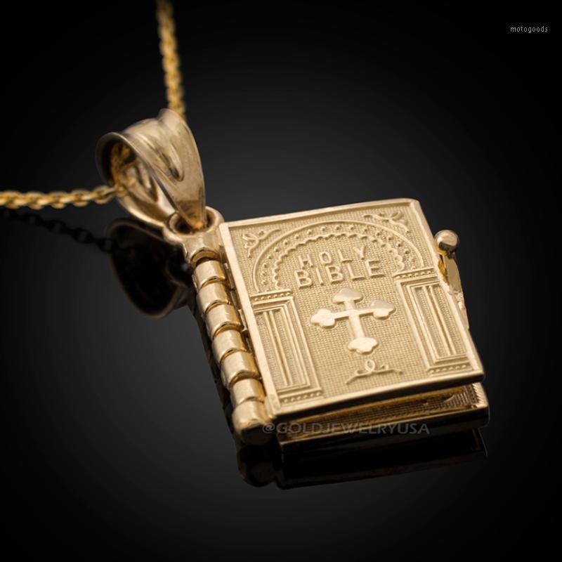 2020 Hit Vintage Altın Din İncil Kolye Kolye Açılabilir Kitap Kolye In Faith Çapraz Kadın Erkek Için Yaşlı Man1